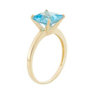 Swiss Blue Topaz 10k Gold Ring