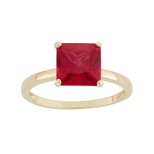 Lab-Created Ruby 10k Gold Ring