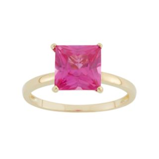 Lab-Created Pink Sapphire 10k Gold Ring