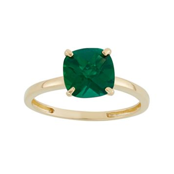Lab-Created Emerald 10k Gold Ring