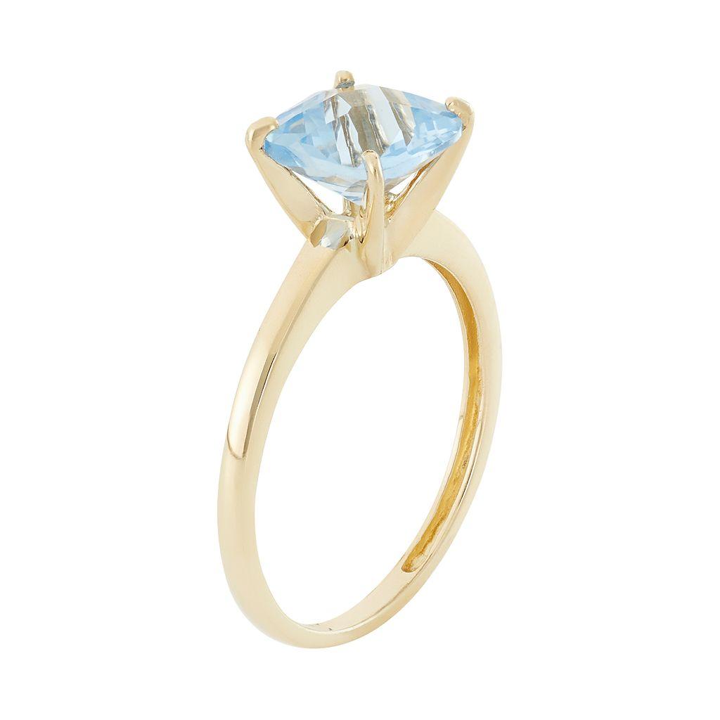 Lab-Created Aquamarine 10k Gold Ring