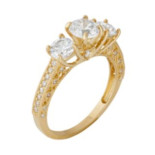 Cubic Zirconia 3-Stone Engagement Ring in 10k Gold