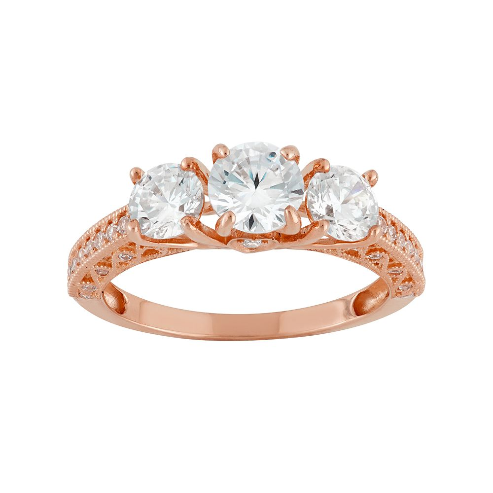Cubic Zirconia Wedding Rings.Cubic Zirconia 3 Stone Engagement Ring In 10k Rose Gold