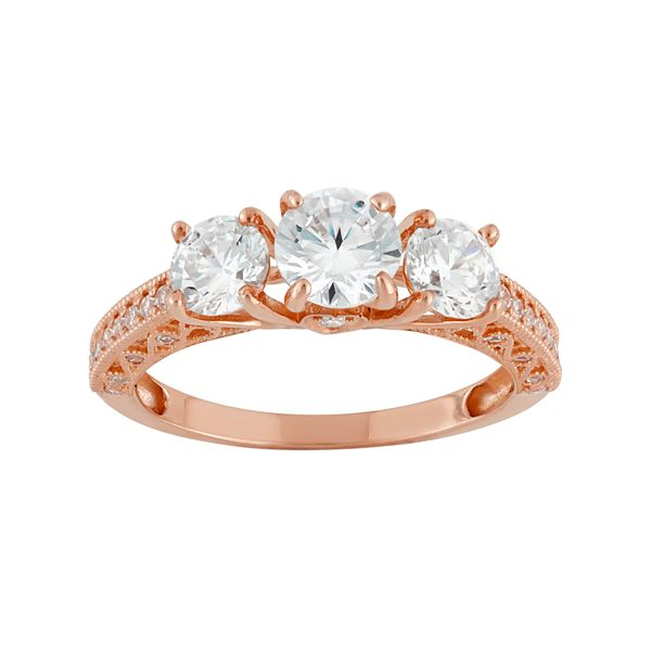 Cubic Zirconia 3 Stone Engagement Ring In 10k Rose Gold
