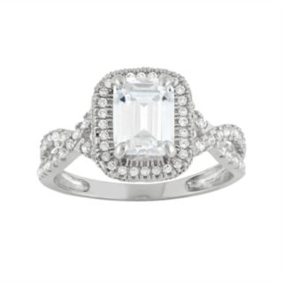 Cubic Zirconia Tiered Halo Engagement Ring in 10k White Gold