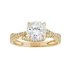 Cubic Zirconia Twist Engagement Ring in 10k Gold