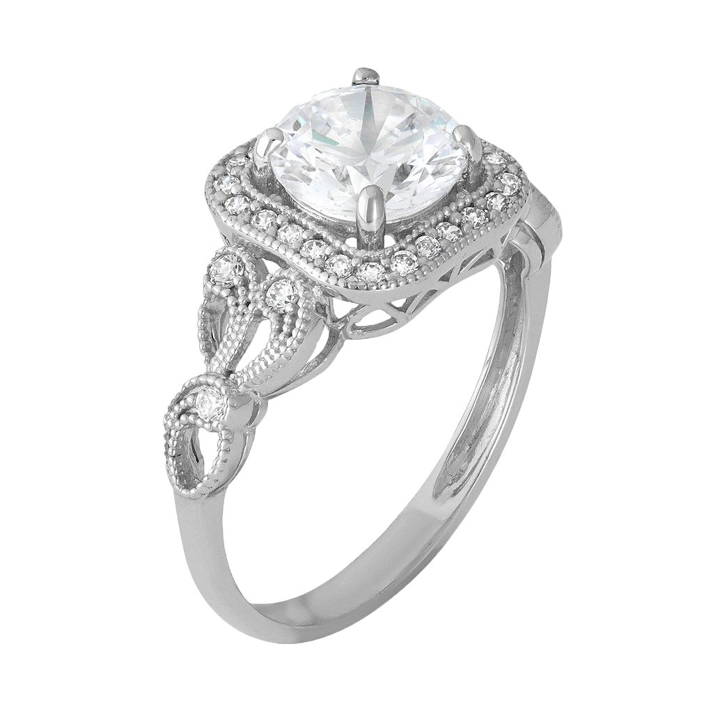 Cubic Zirconia Square Halo Engagement Ring in 10k White Gold
