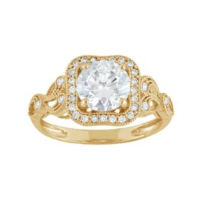 Cubic Zirconia Square Halo Engagement Ring in 10k Gold