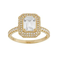 Cubic Zirconia Rectangle Halo Engagement Ring in 10k Gold
