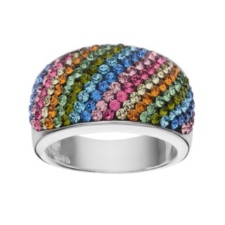 Crystal Sterling Silver Dome Ring