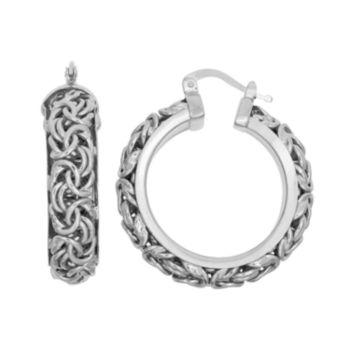 Sterling Silver Byzantine Hoop Earrings