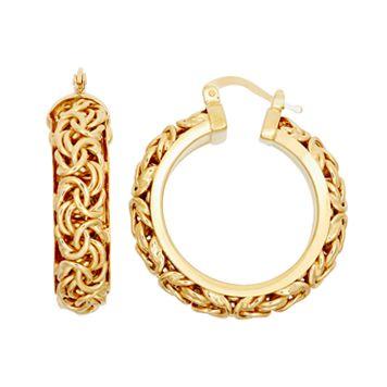 14k Gold Over Silver Byzantine Hoop Earrings