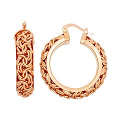 14k Rose Gold Over Silver Byzantine Hoop Earrings