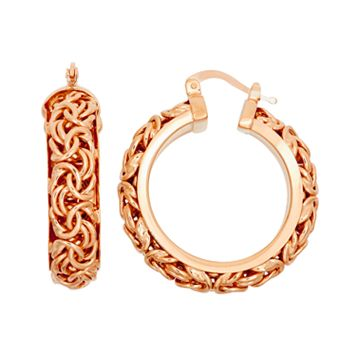 14k Rose Gold Over Silver Byzantine Hoop Earrings