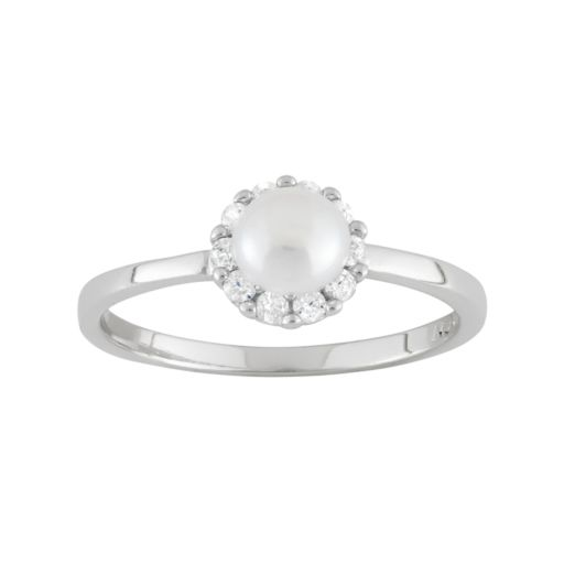 Junior Jewels Freshwater Cultured Pearl and Cubic Zirconia Sterling Silver Halo Ring - Kids