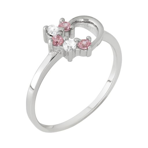 Junior Jewels Cubic Zirconia Sterling Silver Heart Ring - Kids