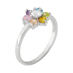 Junior Jewels Cubic Zirconia Sterling Silver Flower Ring - Kids