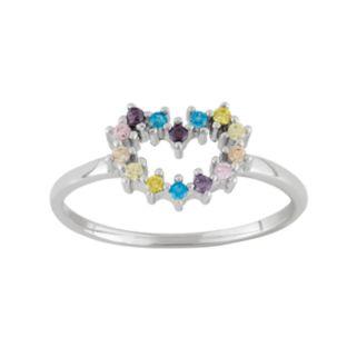 Junior Jewels Cubic Zirconia Sterling Silver Heart Ring - Kids