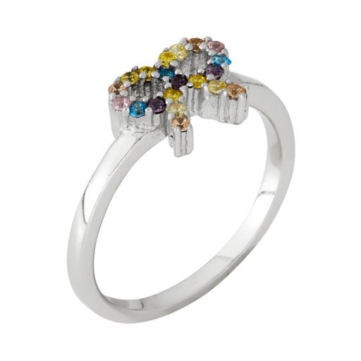 Junior Jewels Cubic Zirconia Sterling Silver Bow Ring - Kids