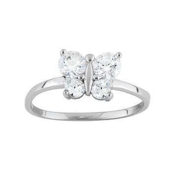 Junior Jewels Cubic Zirconia Sterling Silver Butterfly Ring - Kids