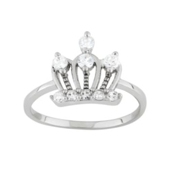 Junior Jewels Cubic Zirconia Sterling Silver Crown Ring