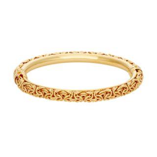 14k Gold Over Silver Byzantine Bangle Bracelet