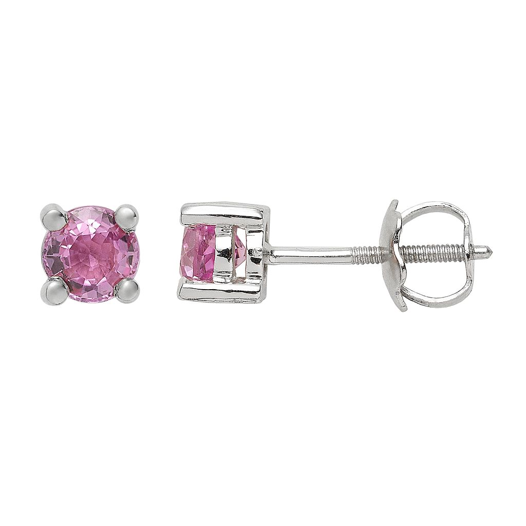 The Regal Collection Genuine Pink Sapphire 14k White Gold Stud Earrings