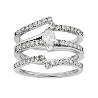 IGL Certified Diamond Marquise Engagement Ring Set in 14k White Gold (1 Carat T.W.)