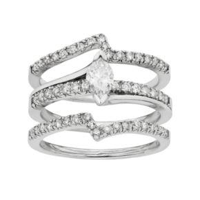 IGL Certified Diamond Marquise Engagement Ring Set in 14k White Gold (1 Carat T.W.)