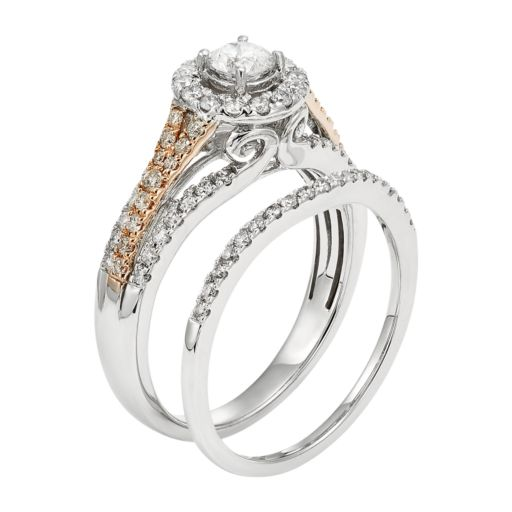 IGL Certified Diamond Halo Two Tone Engagement Ring Set in 14k Gold (1 Carat T.W.)