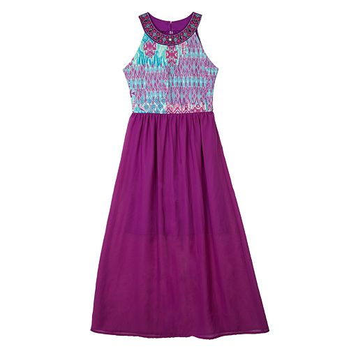 IZ Amy Byer Knit Chiffon Maxi Dress - Girls' 7-16