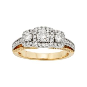 IGL Certified Diamond 3-Stone Halo Two Tone Engagement Ring in 14k Gold (1 Carat T.W.)
