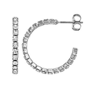 Duchess of Dazzle Crystal Silver Tone Hoop Earrings