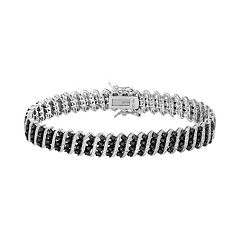 1 Carat T.W. Black Diamond Sterling Silver Bracelet