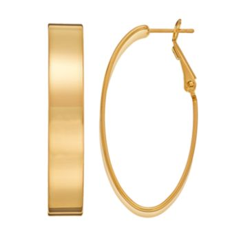 14k Gold-Plated Oval Hoop Earrings
