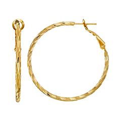 14k Gold-Plated Textured Hoop Earrings
