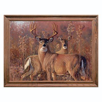 Reflective Art ''Fall Courtship'' Framed Canvas Wall Art