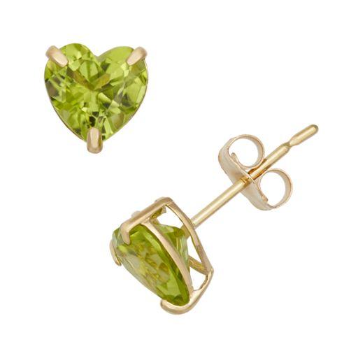 Peridot 10k Gold Heart Stud Earrings