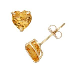 Citrine 10k Gold Heart Stud Earrings