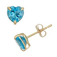 Swiss Blue Topaz 10k Gold Heart Stud Earrings