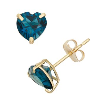 London Blue Topaz 10k Gold Heart Stud Earrings