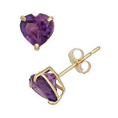 Amethyst 10k Gold Heart Stud Earrings