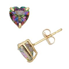 Mystic Topaz 10k Gold Heart Stud Earrings