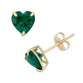 Lab-Created Emerald 10k Gold Heart Stud Earrings