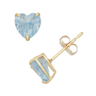 Lab-Created Aquamarine 10k Gold Heart Stud Earrings