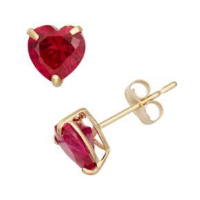 Lab-Created Ruby 10k Gold Heart Stud Earrings