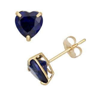 Lab-Created Sapphire 10k Gold Heart Stud Earrings