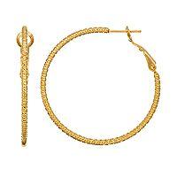14k Gold-Plated Textured Hoop Earrings