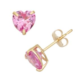 Lab-Created Pink Sapphire 10k Gold Heart Stud Earrings
