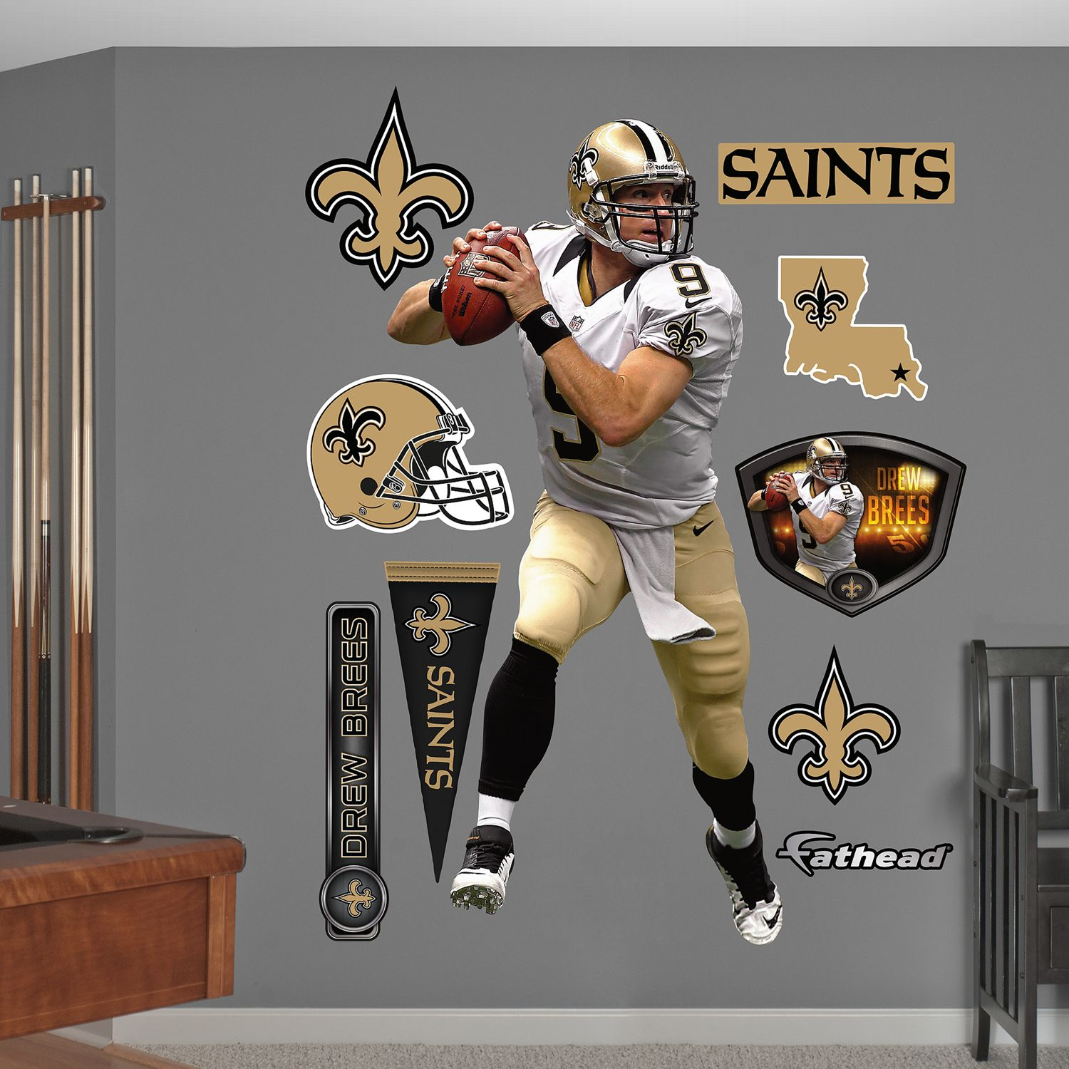 Regular & New Orleans Saints Drew Brees Wall Decals by Fathead Jr.